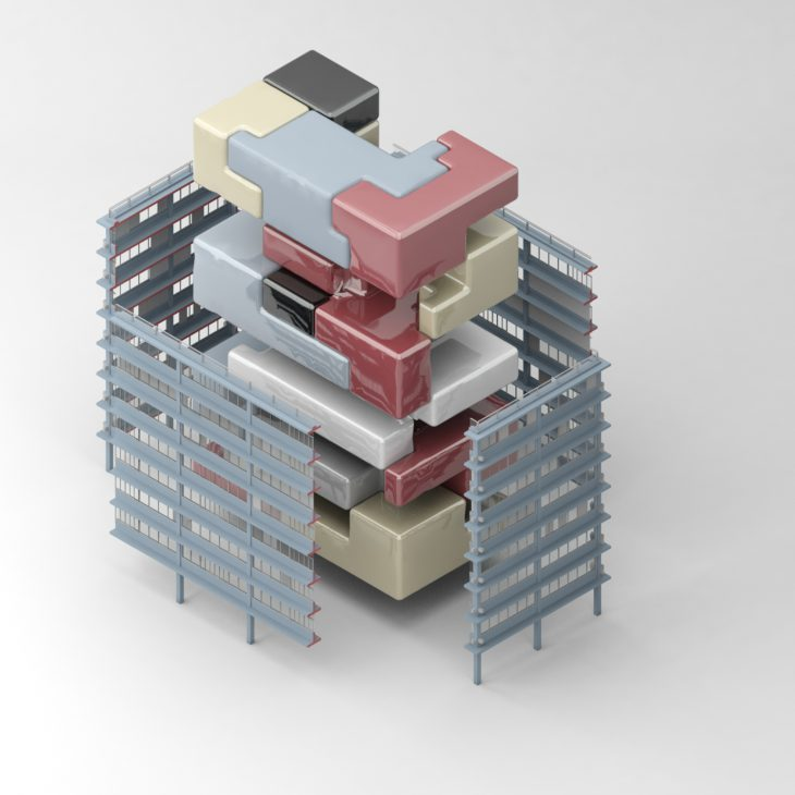 A floor plan selected double height spaces