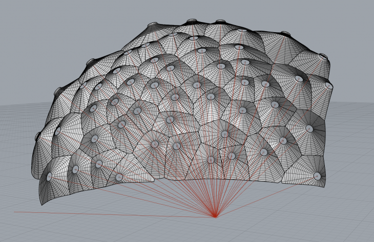 One of my early concept models for the Responsive Acoustic Surface (sketched in January 2011). At the time our construction system was unable to accomodate the variation in the geometry, so we instead choose to build the Responsive Acoustic Surface as a semi-circular wall –although the idea would form the basis for the Fabpod two years later.
