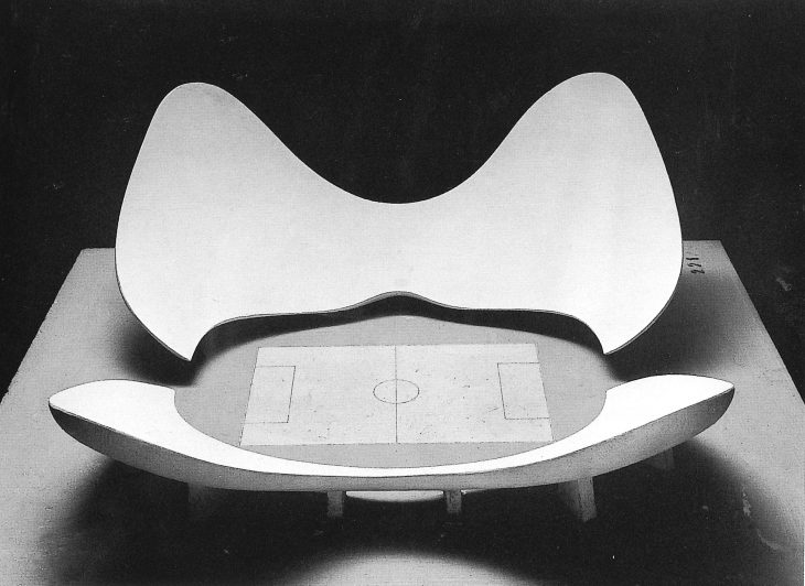 A model of stadium N by Luigi Moretti. Exhibited at the 1960 Parametric Architecture exhibition at the Twelfth Milan Triennial. The stadium derives from a parametric model consisting of nineteen parameters.