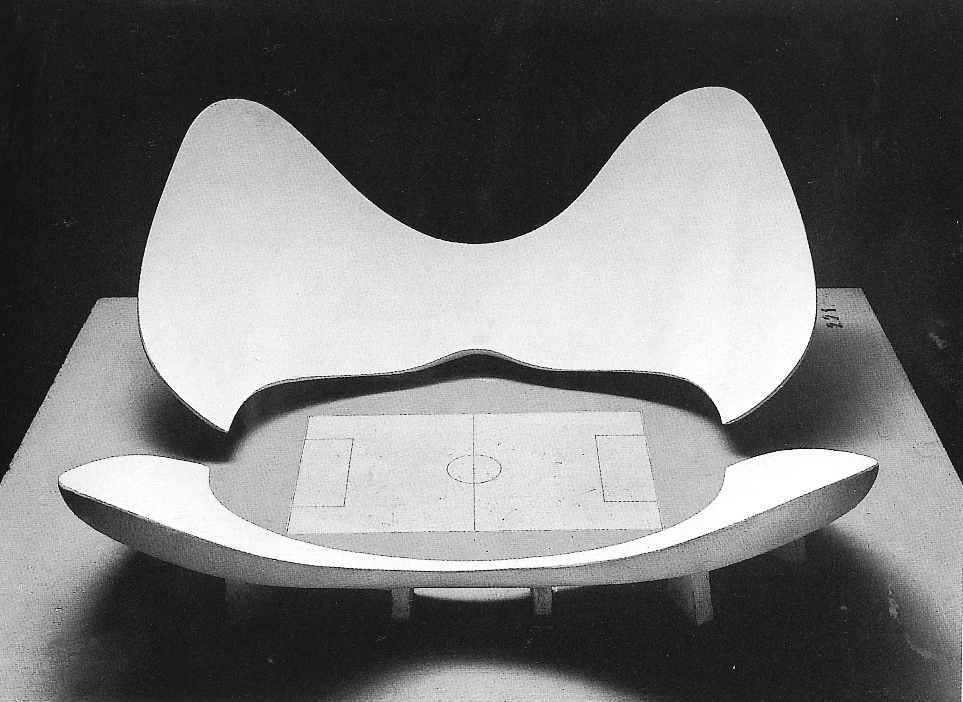 A model of stadium n by luigi moretti exhibited at the 1960 parametric architecture exhibition