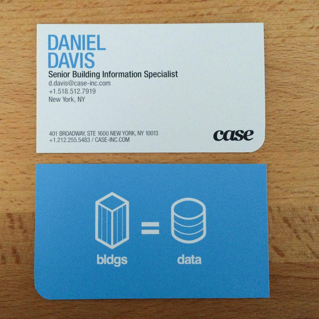 The CASE bldg=data business card.