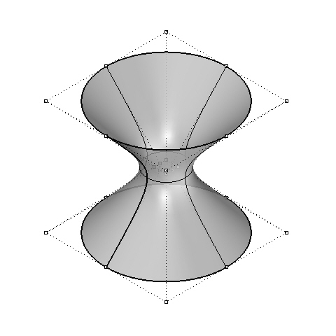An accurate hyperboloid defined from just 24 control points.