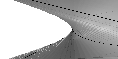 These striations in the neck of the hyperboloid come from the meshing algorithm. The twist makes everything somewhat inaccurate.
